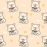 Cute french bulldog Seamless Pattern Background vector illustration
