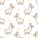 Cute llama Seamless Pattern Background vector illustration
