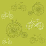 Seamless background with Retro Bicycles Royalty Free Stock Photography