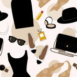 Seamless background with retro fashion objects: women hats, shoes, bags, lipsticks, eyeglasses, perfume. Old-fashioned Royalty Free Stock Photos