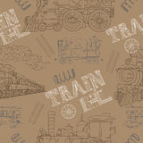 Seamless background with retro locomotives and text Stock Photo