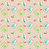 Seamless background in retro style with wild flowers and cherrie. S. Vector illustration Royalty Free Stock Image