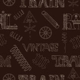Seamless background with retro train theme Stock Photography