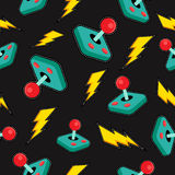 Seamless background with retro video game icons vector illustration