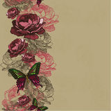 Seamless background with ribbon roses and butterflies. Vector il Stock Photos