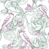 Seamless background with roses and birds Stock Photo