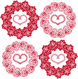 Seamless background with roses and hearts. Seamless background with wreaths of roses and hearts Royalty Free Stock Photo