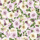 Seamless background with roses and lisianthus flow Stock Photography