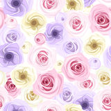 Seamless background with roses and lisianthus flow Royalty Free Stock Photos