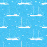 Seamless background, sailboats and waves Royalty Free Stock Photography