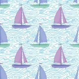 Seamless background, sailboats and waves Royalty Free Stock Photo