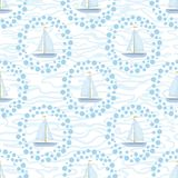 Seamless background, sailboats and waves Royalty Free Stock Images