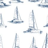 Pattern of the sailing yachts sketches. Seamless background of sailing boats on a trip Royalty Free Stock Photos