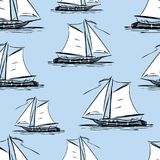 Seamless background of the sailing boats Stock Image