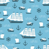 Seamless background with sailing ship Royalty Free Stock Photos