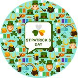 Seamless background with saint Patricks Day icons. Vector illustration of a St. Patrick's Day design elements collection Stock Photo
