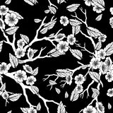 Seamless background with sakura blossoms and folliage. Black white eps outlined illustration. Stock Photo
