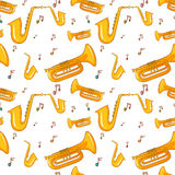Seamless background with saxophone and music notes Royalty Free Stock Photography