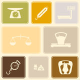 Seamless background with scales weight icons Royalty Free Stock Images