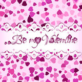Seamless background with scattering of hearts and greeting for Valentines day Stock Photography
