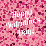 Seamless background with scattering of hearts with lettering on Valentines day Stock Photography