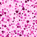 Seamless background with scattering of lilac hearts Stock Image