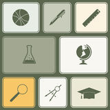 Seamless background with school icons. For your desing stock illustration