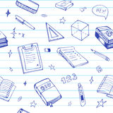 Seamless background with school object and symbols on blue ruled paper. Education pattern doodle. Seamless background with school object and symbols on blue Stock Photo