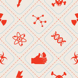Seamless background with science icons Stock Photos