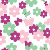 Seamless background with scrapbook flowers Royalty Free Stock Images