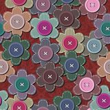 Seamless background with scrapbook flowers Stock Images