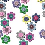Seamless background with scrapbook flowers Stock Photos
