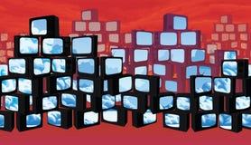Seamless background - scrapyard of pyramids retro TV. A high quality horizontal seamless background - wasteland with ominous sky, scrapyard of pyramids retro TV Stock Photo