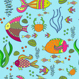Seamless background with sea fishes. Coral reef animals. Underwater world in bright colors. Seamless background with sea fishes. Coral reef animals. Hand drawn Royalty Free Stock Photos