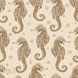 Seamless background with sea-horses Stock Photography