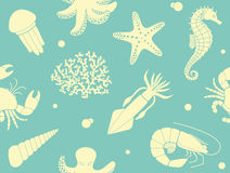 Seamless background with sea life Royalty Free Stock Photography