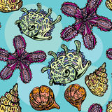 Seamless background with sea life - pattern with shells and sea Stock Image