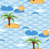 Seamless background with sea and palm pattern Stock Images