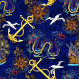 Seamless background with sea pattern, dragon and compass Royalty Free Stock Image