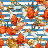 Seamless background with Sea Shells and fish Royalty Free Stock Images