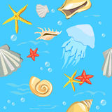 Seamless background with sea shells Royalty Free Stock Photography