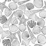 Seamless background with sea shells Royalty Free Stock Photo