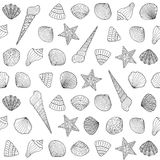 Seamless background with sea shells Royalty Free Stock Image