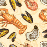 Seamless background with seafood Stock Photos