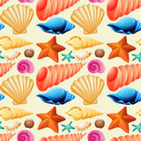 Seamless background with seashells and starfish. Illustration Royalty Free Stock Photo