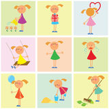 Seamless background. Set of girls Stock Images