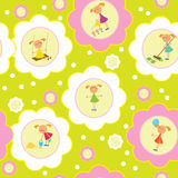 Seamless background set of girls. Seamless background. Set of girls engaged in various activities such as: play, work, cry, paint, etc vector illustration