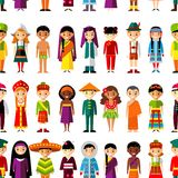 Seamless background with set of multicultural national children. Seamless background of international people in traditional costumes Royalty Free Stock Images