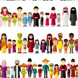 Seamless background with set of multicultural national family. Royalty Free Stock Photos