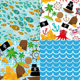 4 Seamless background set of pirate island colorful kids retro pattern Stock Photography